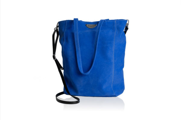 Blue suede bag with shoulder strap