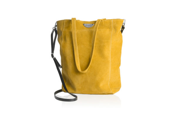Yellow suede bag with shoulder strap