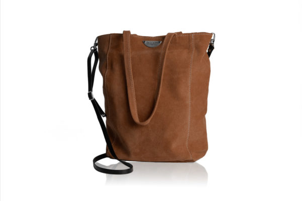 Brown suede bag with shoulder strap