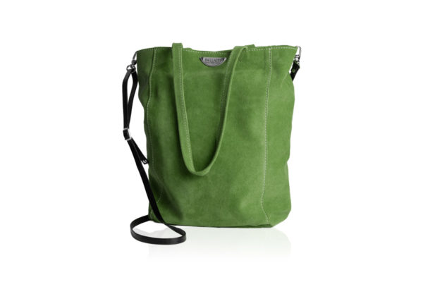 Green suede bag with shoulder strap