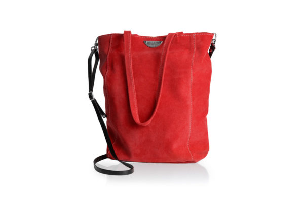 Red suede bag with shoulder strap