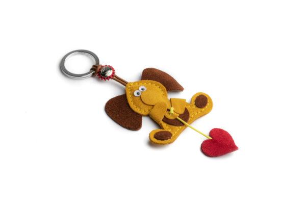 Portachiavi elefante e cuore rosso golden