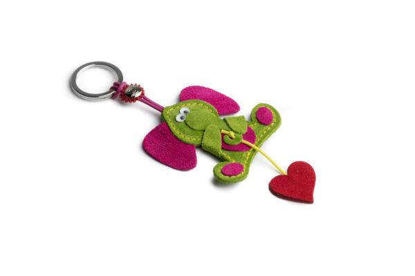 Portachiavi elefante e cuore rosso verde acido