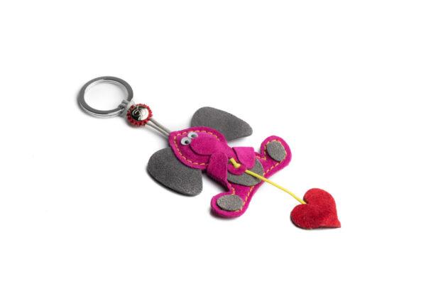 Portachiavi elefante e cuore rosso rosa