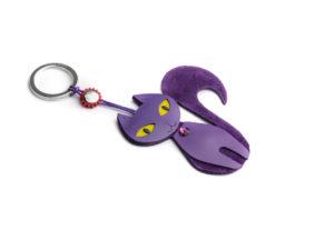 Portachiavi gatta in pelle scamosciata colore viola