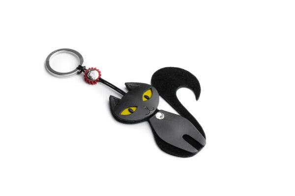 Portachiavi gatta in pelle scamosciata colore nero