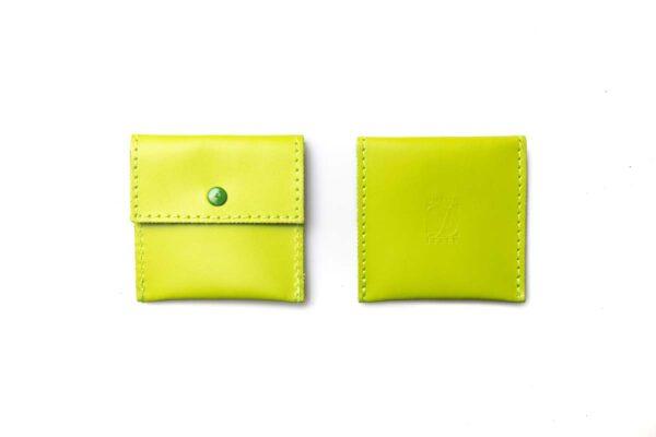 porta cuffiette in pelle Verde acido