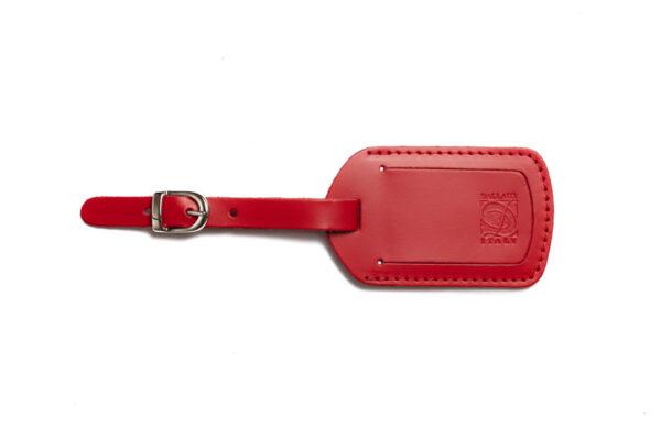 PT 36 6 Etichetta valigia in pelle pigmentata rossa