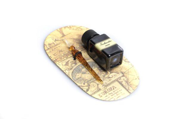 Confezione penna calligrafica in vetro seppia