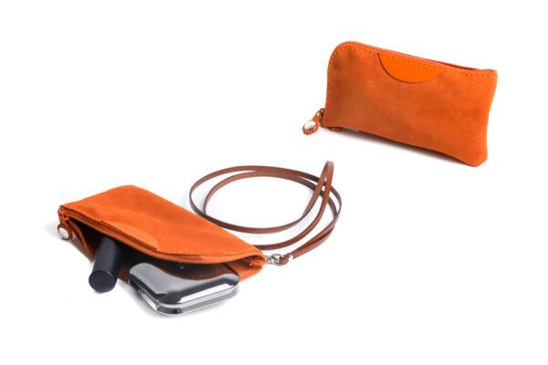 pochette porta cellulare arancione