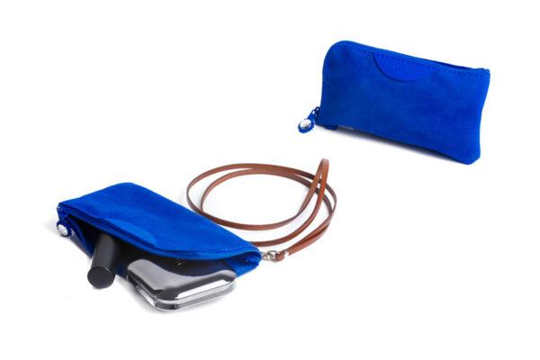 pochette porta cellulare blu