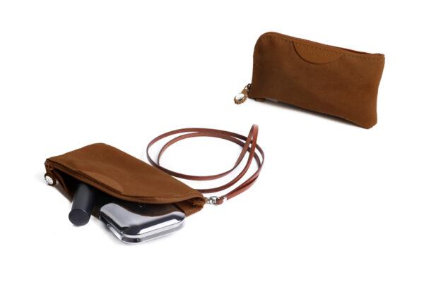pochette porta cellulare marrone