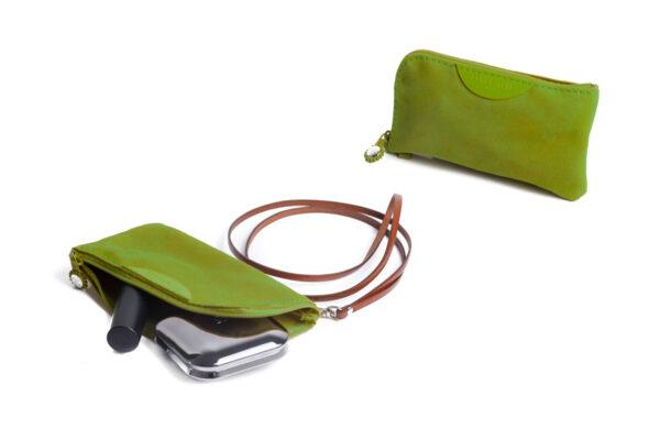 pochette porta cellulare verde acido