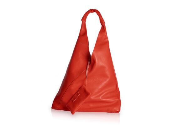 Borsa in pelle a sacco di colore rosso con astuccio interno