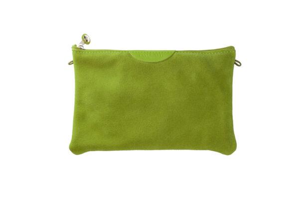 pochette verde pelle tracolla
