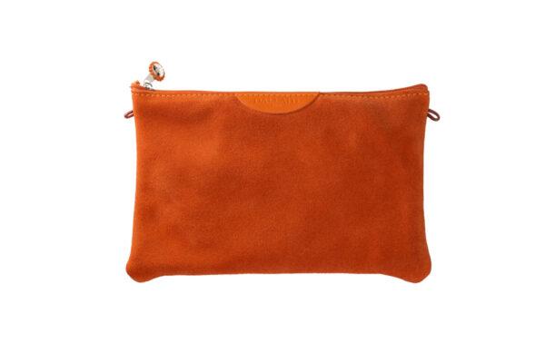 pochette arancione pelle tracolla