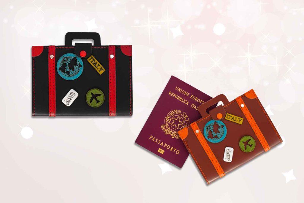 Porta passaporto da viaggio in pelle scamosciata