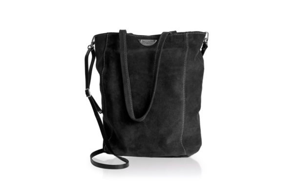 Black suede bag with shoulder strap