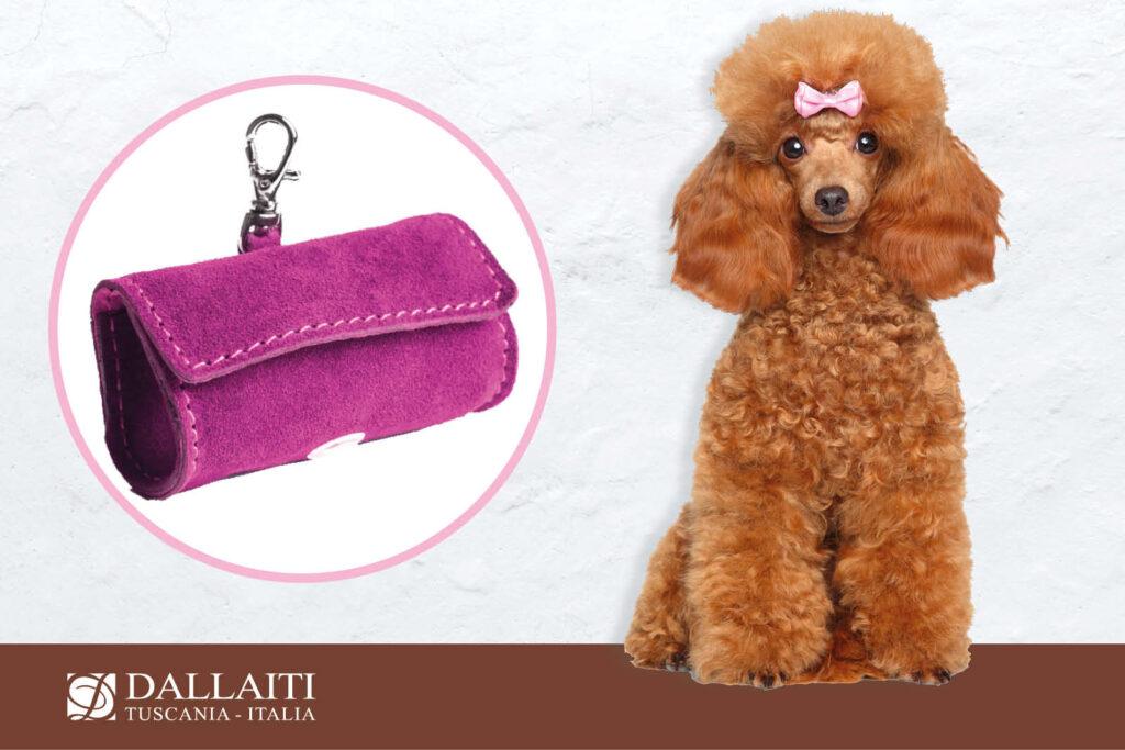 custodia portasacchetti per cane rosa